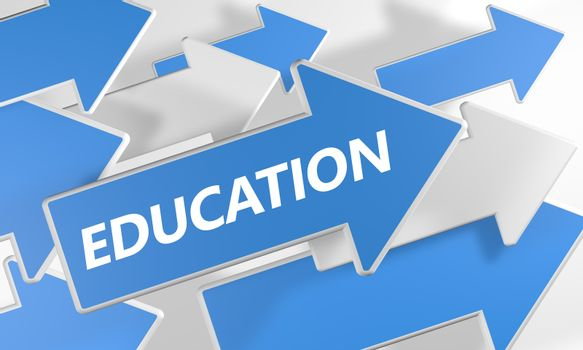 Education 3d render concept with blue and white arrows flying over a white background.
