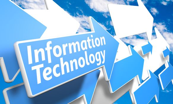 Information Technology 3d render concept with blue and white arrows flying in a blue sky with clouds