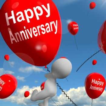 Happy Anniversary Balloons Showing Cheerful Festivities and Parties