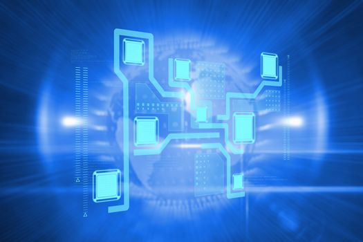 Technology interface  against global technology background