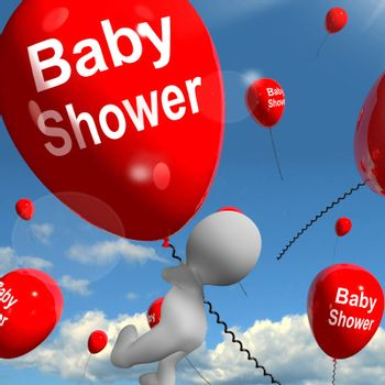 Baby Shower Balloons Showing Cheerful Parties and Festivities