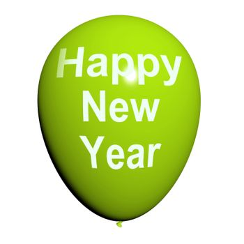 Happy New Year Balloon Showing Parties and Celebration