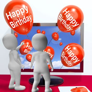 Happy Birthday Balloons Showing Festivities and Invitations Online