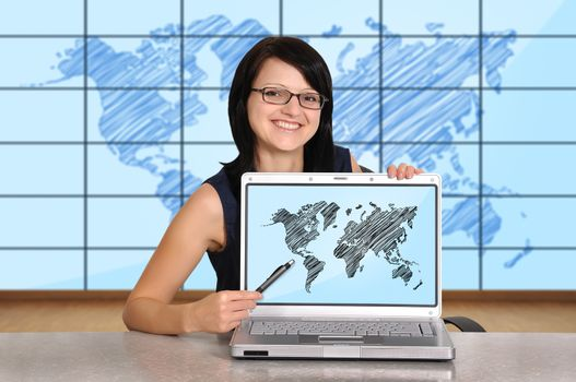 woman sitting in office and laptop, travel concept