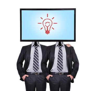 businessman and monitor with lightbulb for a head