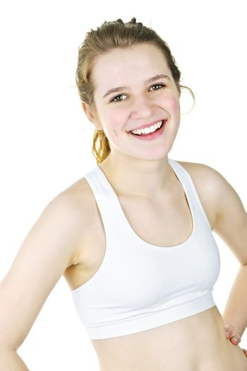 Smiling fit young woman ready for workout on white background