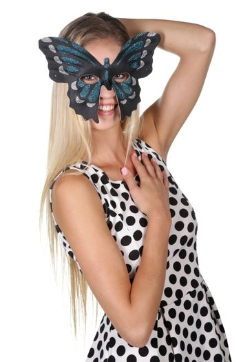 Beautiful young lady with butterfly mask and lovely smile