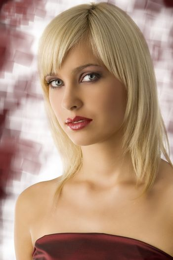 beautiful fashion portrait of blond girl with rich purple make up color