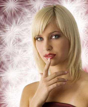 fashion portrait of cute blond girl with rich purple make up color
