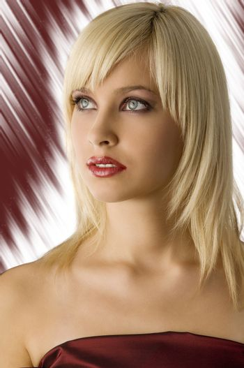 cute fashion portrait of blond girl with rich purple make up color
