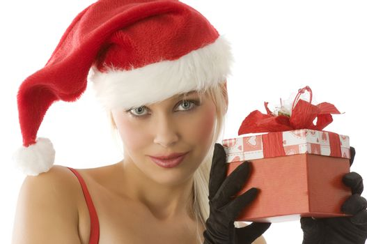 close up of young beautiful girl in santa claus with gift box