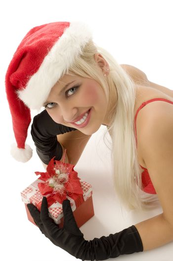 close up of beautiful blond santa claus with gift box smiling