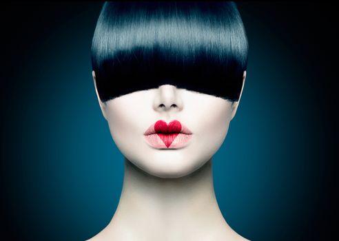 High Fashion Model Girl Portrait with Trendy Fringe