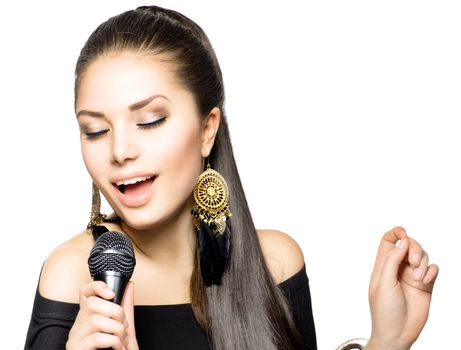 Singing Woman. Beauty Woman with Microphone