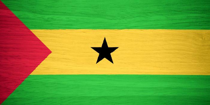 Sao Tome and Principe flag on wood texture