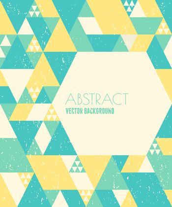 Abstract geometric design in blue, yellow and white with copy space.