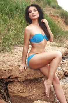 Portrait of sexy fashion model wearing bikini beach series
