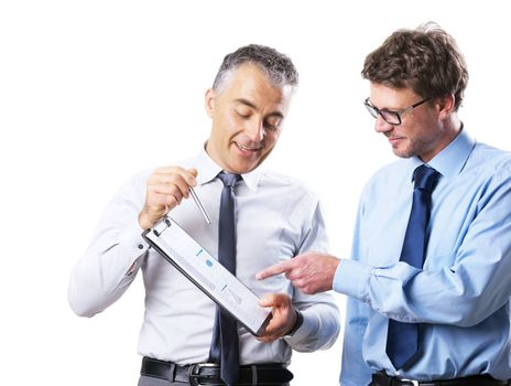 Businessman showing documents to his collegue and discussing on white background.