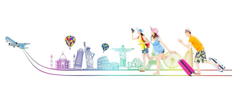happy young backpackers go to travel worldwide together