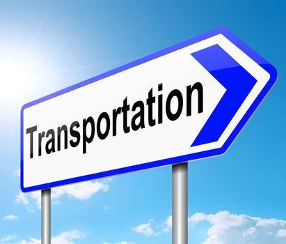 Illustration depicting a sign with a transportation concept.
