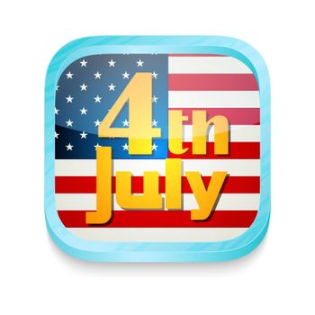Smart phone button with July 4th and USA flag