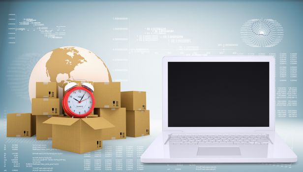 Earth with alarm clock and cardboard boxes. Open laptop. Transportation concept