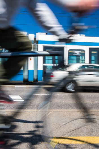 City transportation concept - commuting methods - on bike, by car, by bus, your choice