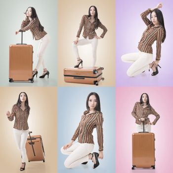 Travel concept with Asian beauty with a luggage in a set.