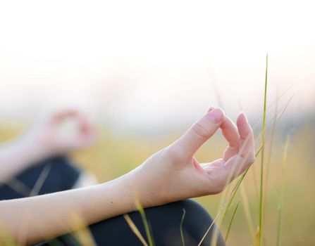 Young Woman Practices Yoga on the Meadow. Active Lifestyle