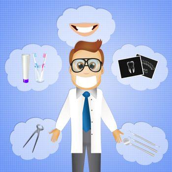 illustration of dentist cartoon