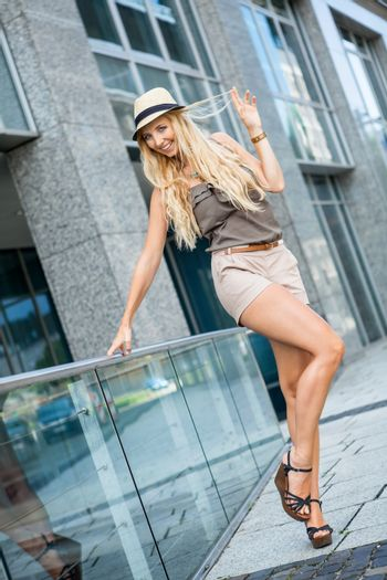 happy young woman lifestyle outdoor summer blonde