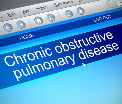 Illustration depicting a computer screen capture with a COPD concept.
