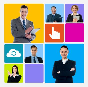 Business collage over colorful windows phone theme