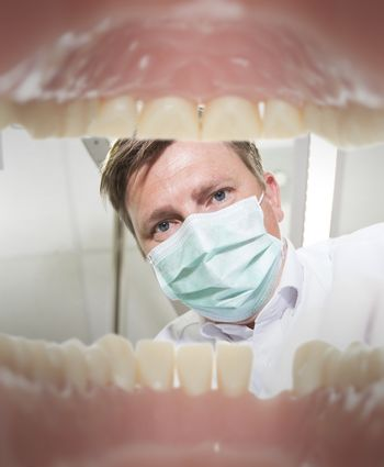 View of a dentist from the inside of mouth