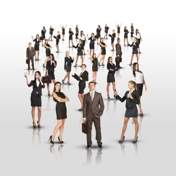 Set of business people on isolated white background