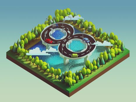 Isometric island transportation, road is number eight