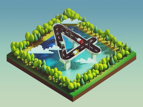 Isometric island transportation, road is number four