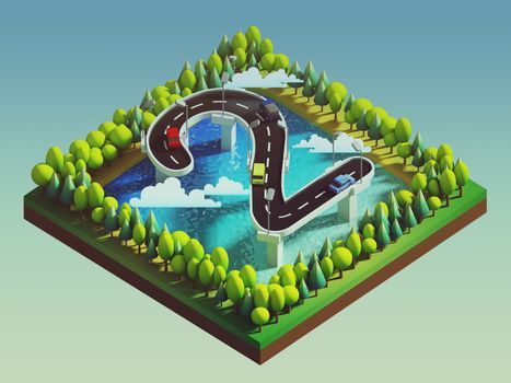 Isometric island transportation, road is number two