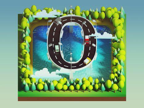 Isometric island transportation, road is number zero