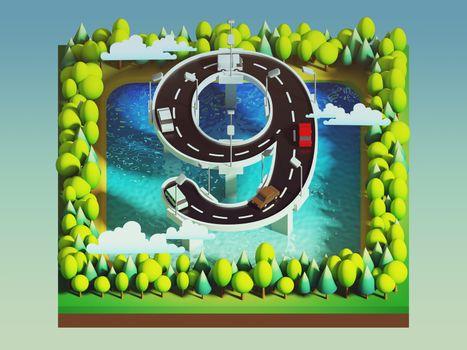 Isometric island transportation, road is number nine