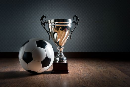 Gold cup trophy and soccer ball on hardwood floor, winning concept.