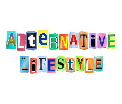 Illustration depicting a set of cut out printed letters arranged to form the words alternative lifestyle.