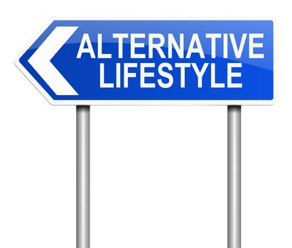 Illustration depicting a sign with an alternative lifestyle concept.