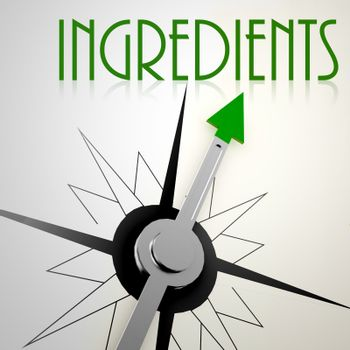 Ingredients on green compass. Concept of healthy lifestyle