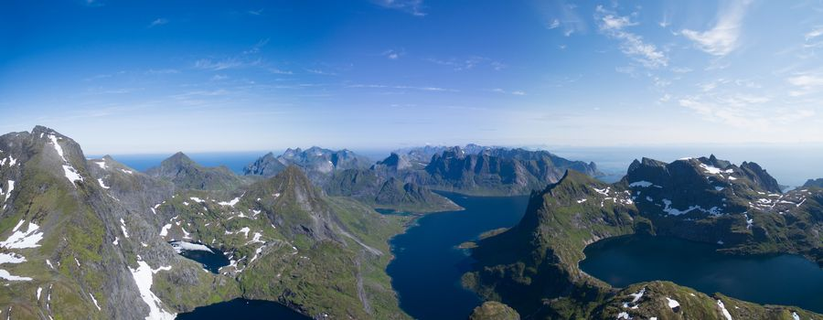 Breathtaking aerial panorama of Lofoten islands in Norway, famous for its natural beauty