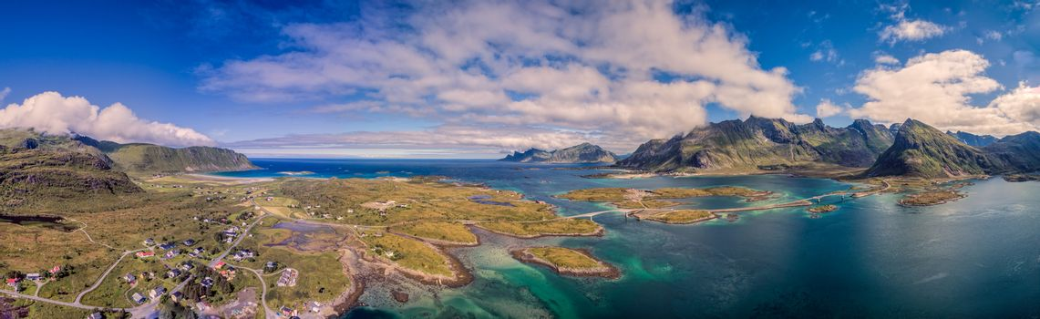 Aerial panorama of Lofoten islands in Norway, famous for its natural beauty