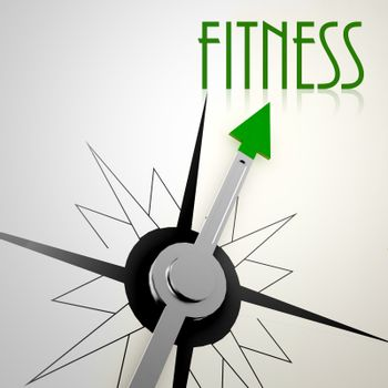 Fitness on green compass. Concept of healthy lifestyle