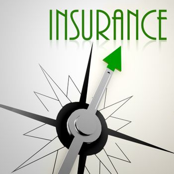 Insurance on green compass. Concept of healthy lifestyle