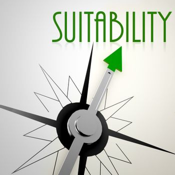 Suitability on green compass. Concept of healthy lifestyle