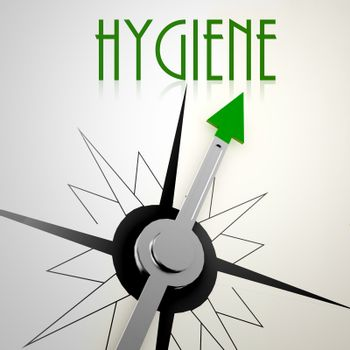 Hygiene on green compass. Concept of healthy lifestyle